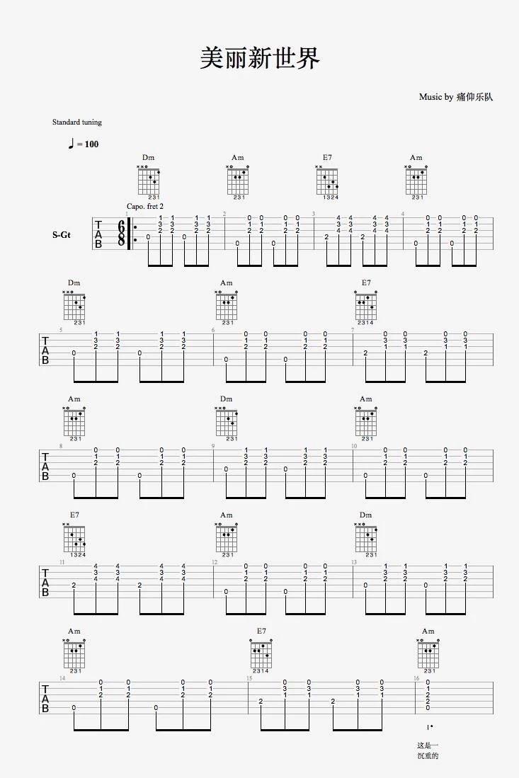痛仰乐队《美丽新世界》吉他谱高清无水印版本